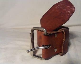 Vintage Brown Leather Belt ,,ROOSTER R-603''.Made in Mexico.