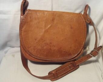 Vintage  Brown Leather Hunting Bag - Shoulder Bag