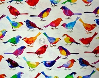 Bird Watchers Cotton Fabric Birds on White  P & B By the Yard