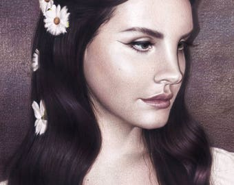 Original Lana Del Rey drawing (42x30 cm)