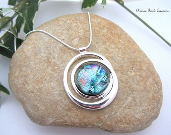 Dichroic glass necklace, sterling silver necklace,dichroic glass jewelry, grey necklace,unique necklace,french jewelry,glass necklace