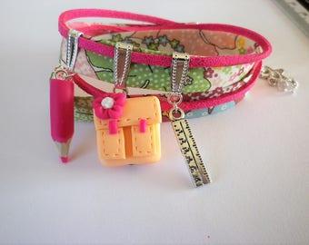Gift teacher school bracelet liberty fishing fuschia school satchel