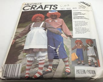 McCall's Costumes 2625 Large  Raggedy Ann Andy Doll  Halloween Adult Teen  Rag Doll Family  Sewing Pattern  S M L XL New