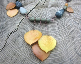 Boho necklace with aspen leaves, sticks and stones, antiqued copper, polymer clay