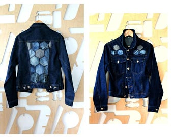 Denim jacket Boho Hippie Southwestern Unisex Duster jacket Trucker jacket Medium Biker Steampunk Preppy Grunge Hipster Festival Navy jacket