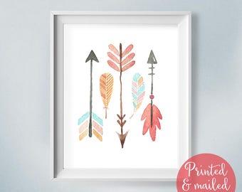 Shabby Nursery Print, Watercolor Arrows, Boho Baby Print, Feather Art Print, Tribal Nursery, Giclee Print