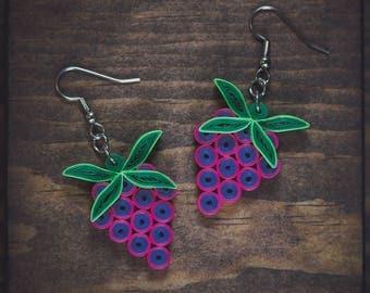 Grape earrings/  Grape jewelry/ Grapes/ Paper Art/ Quilling jewelry/  Paper grape earrings/ Light weight Jewelry/ Bridesmaid earrings