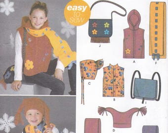 FREE US SHIP 5285 Sewing Pattern Child's Kids Fleece Accessories Jester Hat Hoody Vest Purse Bag Backpack Scarf Scarves Uncut