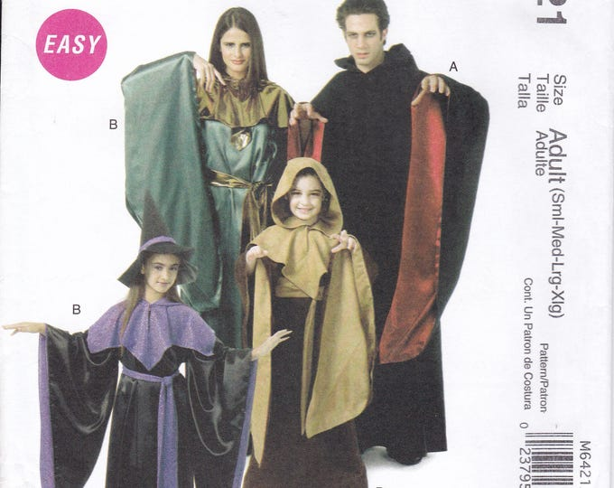 FREE US SHIP McCalls 6421 Sewing Pattern Adult S-Xl Kids 5/12 Costume Robe Witch Cape Hood Dracula Goth Family Mom Dad Boy Girl sizes