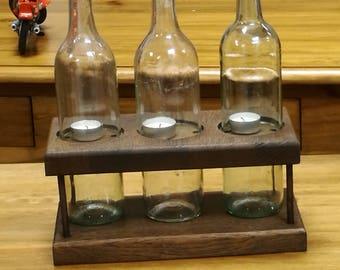 Recycled wine bottle t light holder