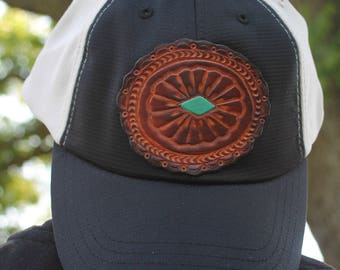 Trucker Ball Cap with Hand Tooled Leather Concho Patch, Southwestern, Western, Boho Hat