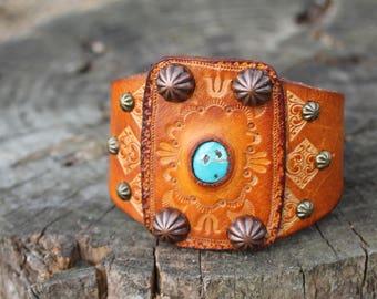 Leather Ketoh Cuff Bracelet, Turquoise Cuff, Western, Boho, Southwestern, Native American Jewelry