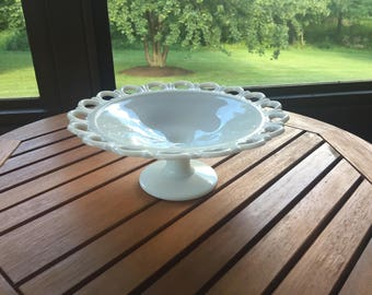 Vintage Milk Glass Pedestal Bowl With Lace Pattern.