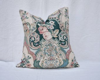 Floral Vintage Pillow Cover - Vintage Fabric - Handmade Pillow Cover - Floral Detail