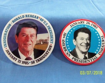 Set of 2 Ronald Reagan Presidential Inauguration buttons (1985)