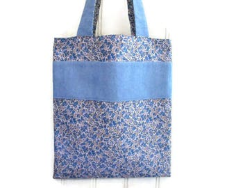 Library bag, bag tote bag, reversible, flowers, blue, denim