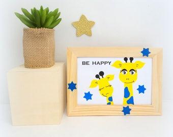 Frame giraffes for child, frame to install, frame for child or baby blue and yellow giraffe illustration, wall 12x17cm, stars