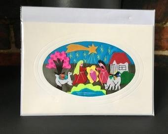 Nativity Christmas card, Nativity Scene Christmas card, Art Decor, Andean Folk Art