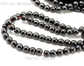 Lot de 20 perles hématites rondes véritable 6 mm