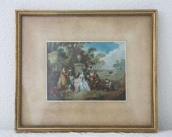 Vintage Framed Art Print on Silk,  Meeting at the Garden Wall by Jean-Baptiste Joseph Pater, Gilded Wooden Frame, France