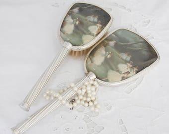Vintage Vanity Set, Hand Mirror and Brush, Ballerina Decor, Made in England