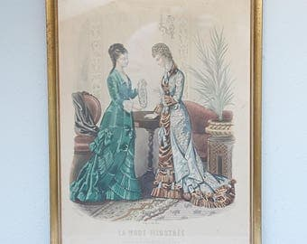 Lovely Antique French Framed Fashion Page , 'La Mode Illustree', Victorian Era Clothing, Gilded Wooden Frame