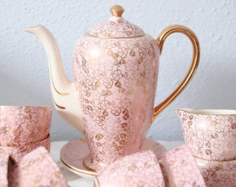 Beautiful Vintage Six Person's English Demitasse Coffee Set, Coffee Service, Pink Chintz, Victoria Pottery, Fenton, Imperial