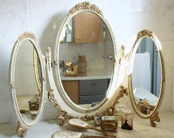 Elegant Antique Large Oval Tri-fold Vanity Mirror with Cream Wooden Ornate Frame, Gilded Accents, Three Way Mirror, Swing Support