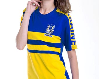 Girl's T-shirt of Ukrainian fans, with embroidered emblem, best price and colors