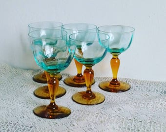 Vintage French George Sand Collectible Wine Glasses, Blue and Amber Glass, Portieux Legras