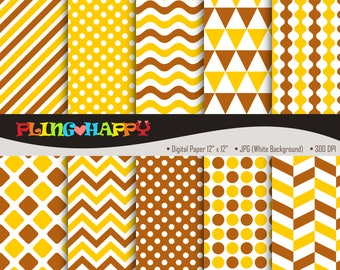70% OFF Yellow And Brown Digital Papers, Chevron/Polka Dot/Wave/Stripe Pattern Graphics, Personal & Small Commercial Use, Instant Download