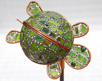 Turtle Garden Sculpture with Green Glass, Metal Yard Art, Copper and Stained Glass