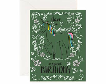 """Unicorn """"Have a Magical Birthday""""  Greeting Card - CLEARANCE!!! Price Drop!!"""