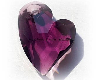 Swarovski AMETHYST 6261 17mm Devoted 2 U Heart Pendant 1 Pc - Swarovski Crystal Elements Beads