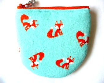 New! coin pouch with foxes made from fox fabric