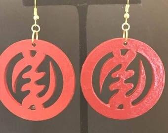 Red Gye Nyame Circle Earrings