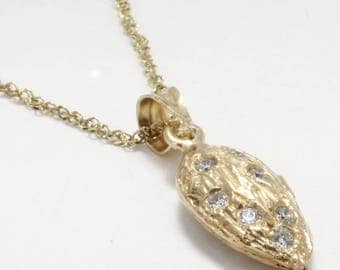 """Almond Jewelry, Almond Necklace, Small 14kt Gold Almond Necklace with diamonds on 18"""" chain, California almond grower gift for her"""