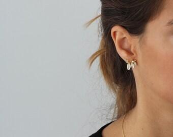 bridesmaid earrings,  cz leaves earrings, dainty earrings, floral earrings, ear climbers, moonstone climbers, zirconia climbers