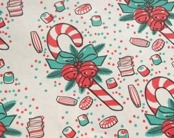 Vintage Candy Cane Christmas Wrapping Paper by the Yard, Old fashioned Red Green White, BTY Yardage