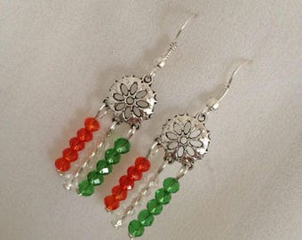 Patriotic jewelry India, Indian flag earrings, India fan earrings, tiny mandala earrings, Tiranga jewelry, Indian flag , India earrings