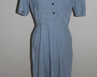 ON SALE Vintage 40s dress women, 50s dress women, Checkered print,  Wiggle Dress, 40s dress, Small, Medium, 1940s dress