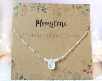 Birthstone Moonstone Necklace, Moonstone Jewelry, Moonstone Gold Necklace, Moonstone Chain Necklace, Rainbow Moonstone Necklace
