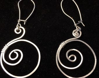 Handmade sterling silver wire earrings