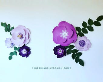 Plum wedding backdrop purple wall decor lilac paper flowers lavender wall decor violet nursery decor plum paper flowers lavender nursery