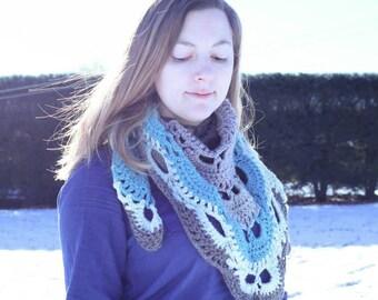 Blue Gray Shawl Scarf, Lacy Crochet Wrap, Summer Shawl, Lacy Wedding Shawl, Blue and Gray Crocheted Shawl