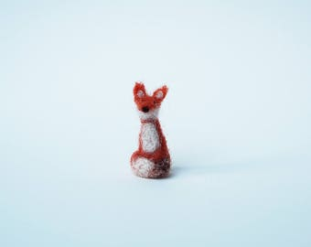 Teeny Tiny Miniature Needle Felted Fox
