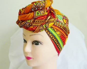 Tangerine Dashiki Print Ankara Head wrap, DIY head tie, Stylish African head scarf, Fabric hair accessory – Made to Order