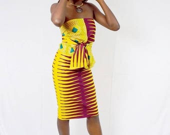 Tangerine and Turquoise Ankara Universal Wrap Halter and Pencil Skirt, African Wax Print Top, Shoulder wrap, Pencil Skirt - One of a Kind