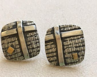PMC sterling silver and 22k gold accent square post earrings.
