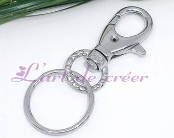 5 large carabiner Keychain in silver with ring